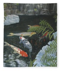 Koi Fish Fleece Blanket