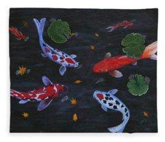 Koi Fishes Original Acrylic Painting Fleece Blanket