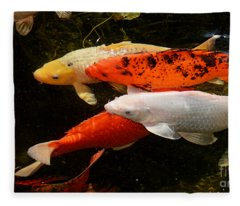 Koi Gathering Fleece Blanket
