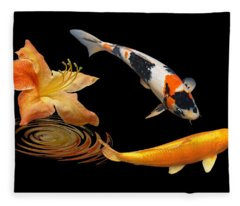 Koi With Azalea Ripples Fleece Blanket