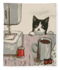 Crafty Cat #2 Fleece Blanket