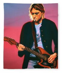 Kurt Cobain In Nirvana Painting Fleece Blanket