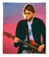 Kurt Cobain In Nirvana Painting Fleece Blanket