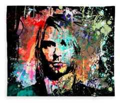 Kurt Cobain Portrait Fleece Blanket