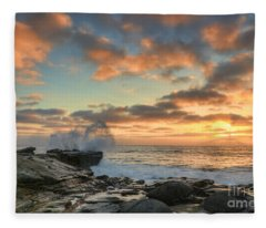La Jolla Cove At Sunset Fleece Blanket