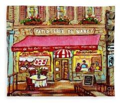 La Patisserie De Nancy French Pastry Boulangerie Paris Style Sidewalk Cafe Paintings Cityscene Art C Fleece Blanket