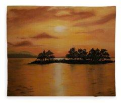 Lac La Biche  Sunset Fleece Blanket