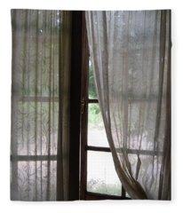 Lace Window Covering. Fleece Blanket