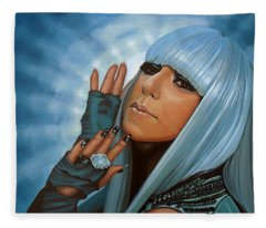 Lady Gaga Painting Fleece Blanket