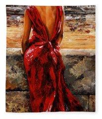 Lady In Red  34 -  I Love Budapest Fleece Blanket