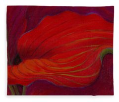 Fleece Blanket featuring the painting Lady In Red by Sandi Whetzel