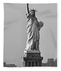 Lady Liberty Black And White Fleece Blanket