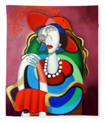 Lady With A Red Hat Fleece Blanket