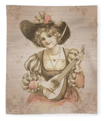 Lady With Music Roses Background Fleece Blanket
