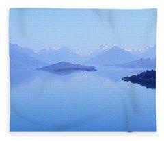 Lake Glenorchy New Zealand Fleece Blanket
