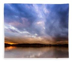 Lake Lanier Sunset Fleece Blanket