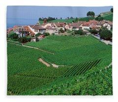 Lake Of Geneva, Vineyards, Rivaz Fleece Blanket