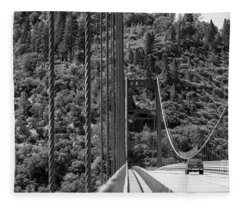 Lake Oroville Bridge Black And White Fleece Blanket