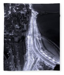 Lake Shore Drive Aerial  B And  W Fleece Blanket