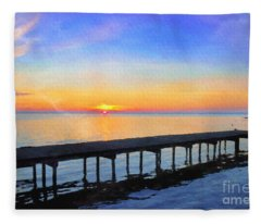 Lake Sunrise - Watercolor Fleece Blanket