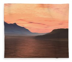 Lake Sunset 1 Fleece Blanket