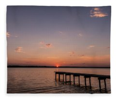 Fleece Blanket featuring the photograph Lake Sunset Over Pier by Todd Aaron