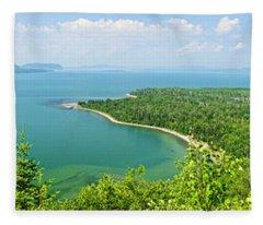 Lake Superior Panorama Fleece Blanket