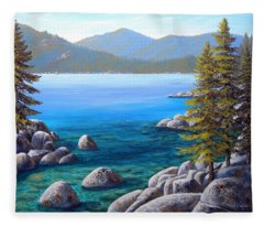 Lake Tahoe Inlet Fleece Blanket