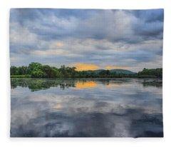 Lake Wausau Summer Sunset Panoramic Fleece Blanket