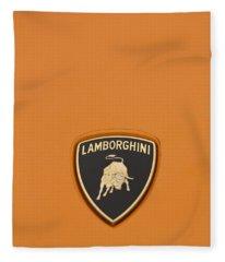 Lambo Hood Ornament Orange Fleece Blanket