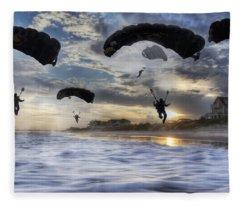 Landing At Sunset Fleece Blanket