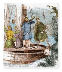 Landing Of The Vikings In The Americas Fleece Blanket