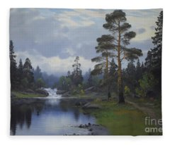 Landscape From Norway Fleece Blanket