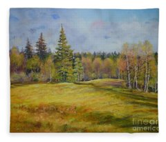 Landscape From Pyhajarvi Fleece Blanket