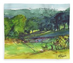 Landscape Lakeway Texas Watercolor Painting By Kmcelwaine Fleece Blanket