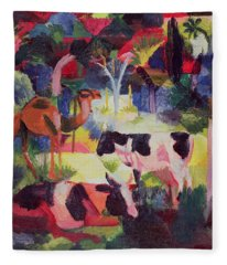 Landscape With Cows And A Camel Oil On Canvas Fleece Blanket