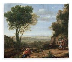Landscape With David At The Cave Of Abdullam, 1658 Oil On Canvas Fleece Blanket