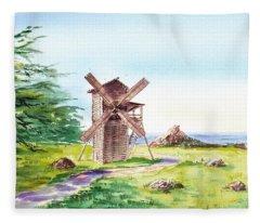 Landscapes Of California Fort Ross Windmill Fleece Blanket