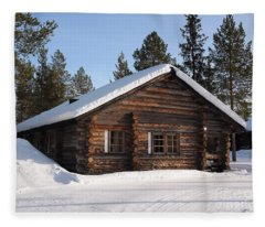 Lapland Log Cabin With Snow On The Roof Fleece Blanket