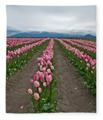 Large Pink Tulip Field Fleece Blanket