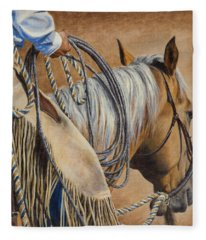 Lariat And Leather Fleece Blanket