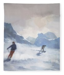 Last Run Les Arcs Fleece Blanket