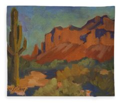 Late Afternoon Light At Superstition Mountain Fleece Blanket