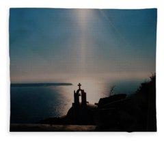 Late Evening Meditation On Santorini Island Greece Fleece Blanket