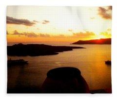 Late Sunset Santorini  Island Greece Fleece Blanket