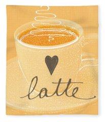 Latte Love In Orange And White Fleece Blanket