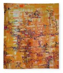 Lattice Animals Abstract Oil Painting By Regina Valluzzi Fleece Blanket