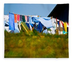 Laundry Hanging On The Line To Dry Fleece Blanket