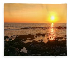 Lava Rock Beach Fleece Blanket