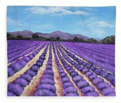 Lavender Field In Provence Fleece Blanket